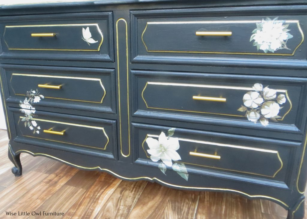 black painted dresser front angle