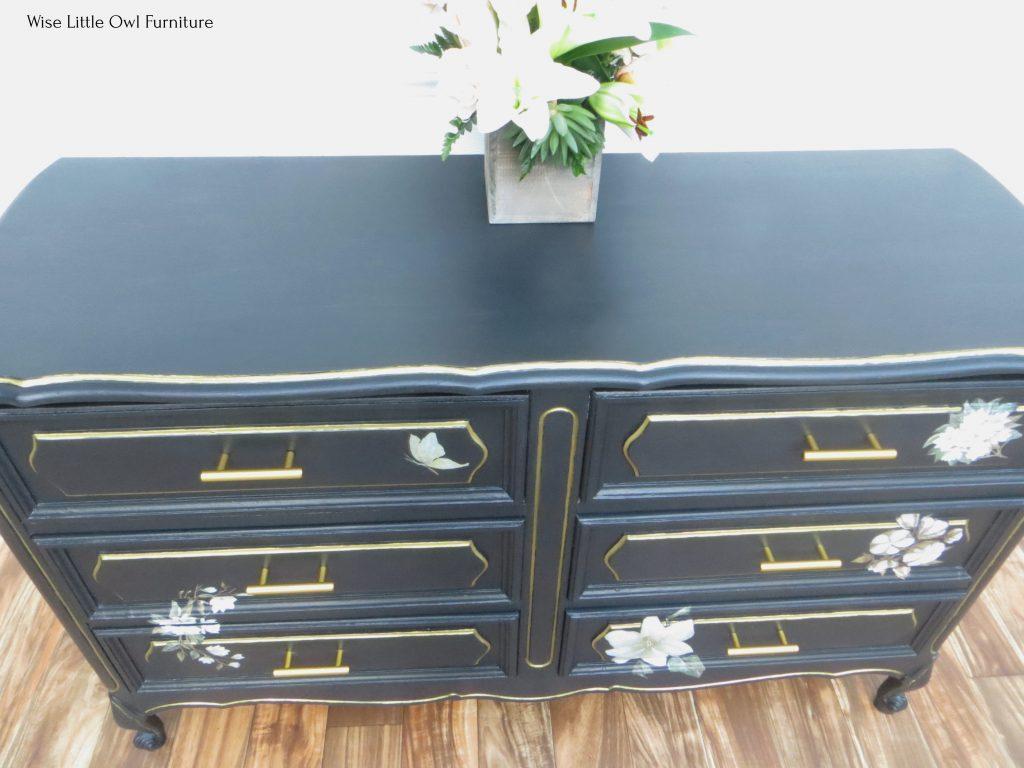 black painted dresser top