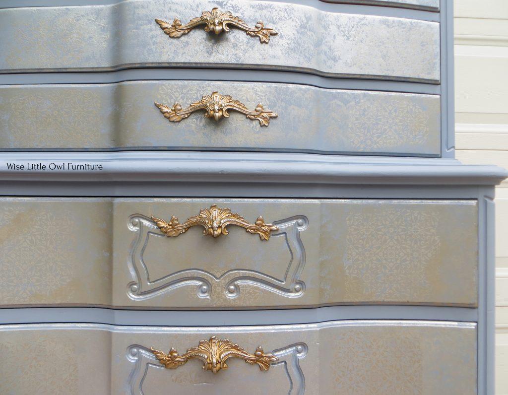 Asian Inspired Tallboy Dresser stencil closeup