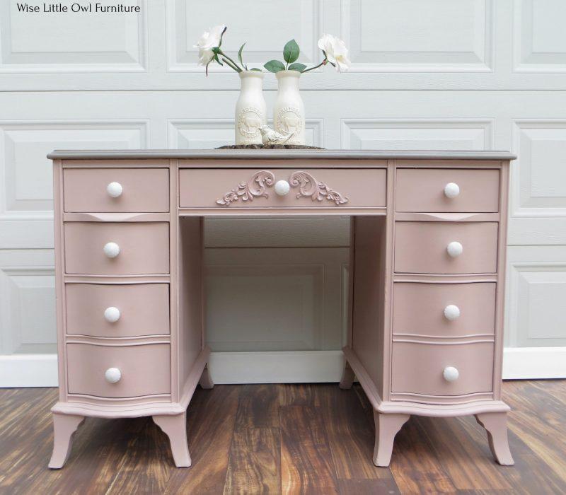 soft pink desk front