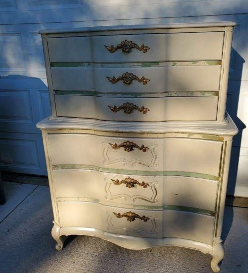 Asian Inspired Tallboy Dresser Before